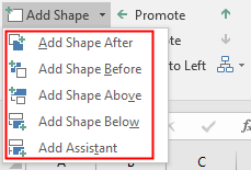 different options of adding shapes in Excel