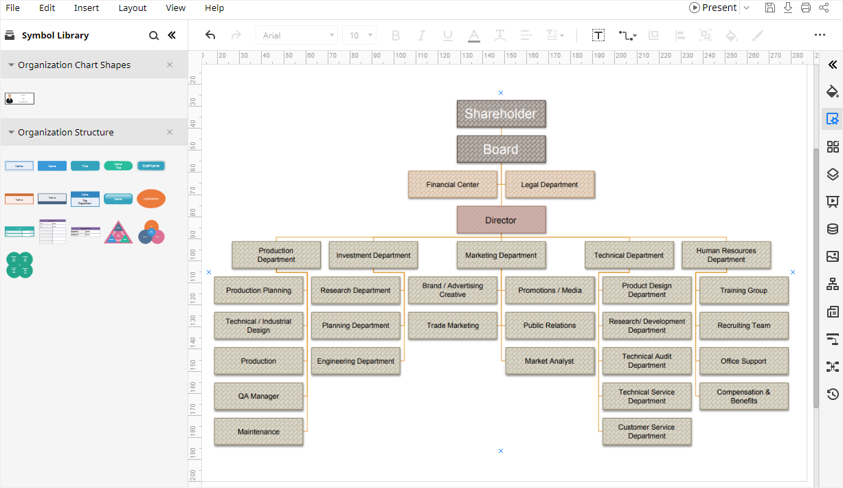Make an org chart with the template in Edraw Max