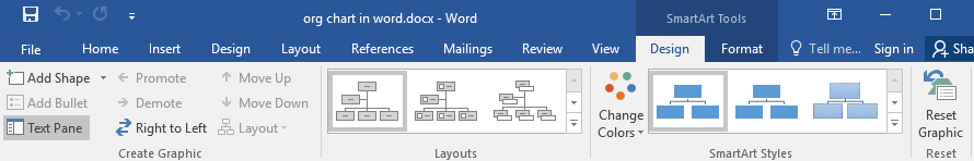 Design tab of SmartArt tools in Word
