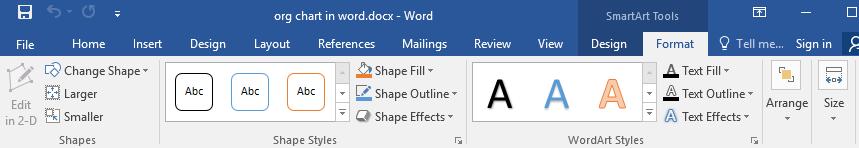 pestaña Formato de herramientas SmartArt en Word