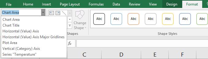 selection area menu in Excel