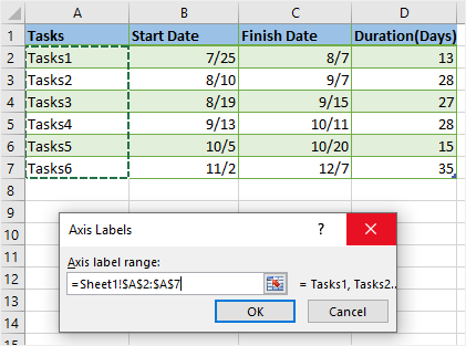 Axis Labels window in Excel