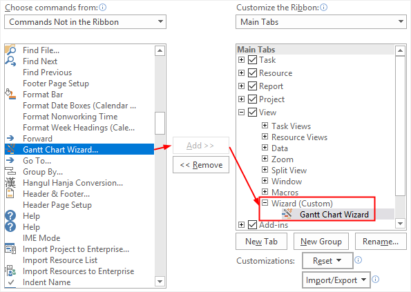 add Gantt Chart Wizard on the tab