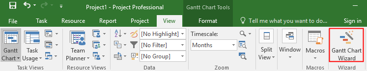 Gantt Chart Wizard button on the tab