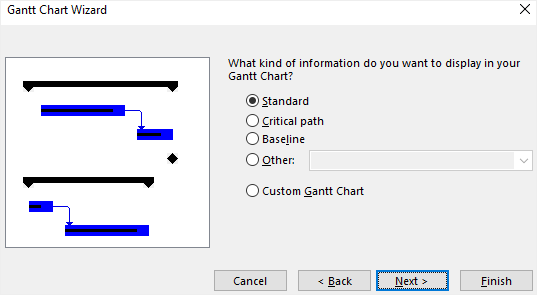 Gantt Chart Wizard formatting options