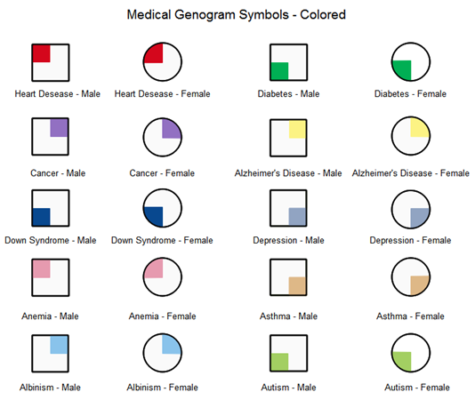 medical genogram symbols colored