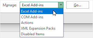 choose Excel Add-ins