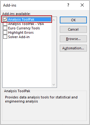 choose Analysis ToolPak