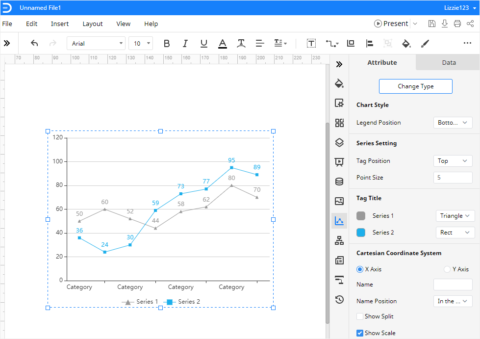 insert an example line graph in Edraw Max