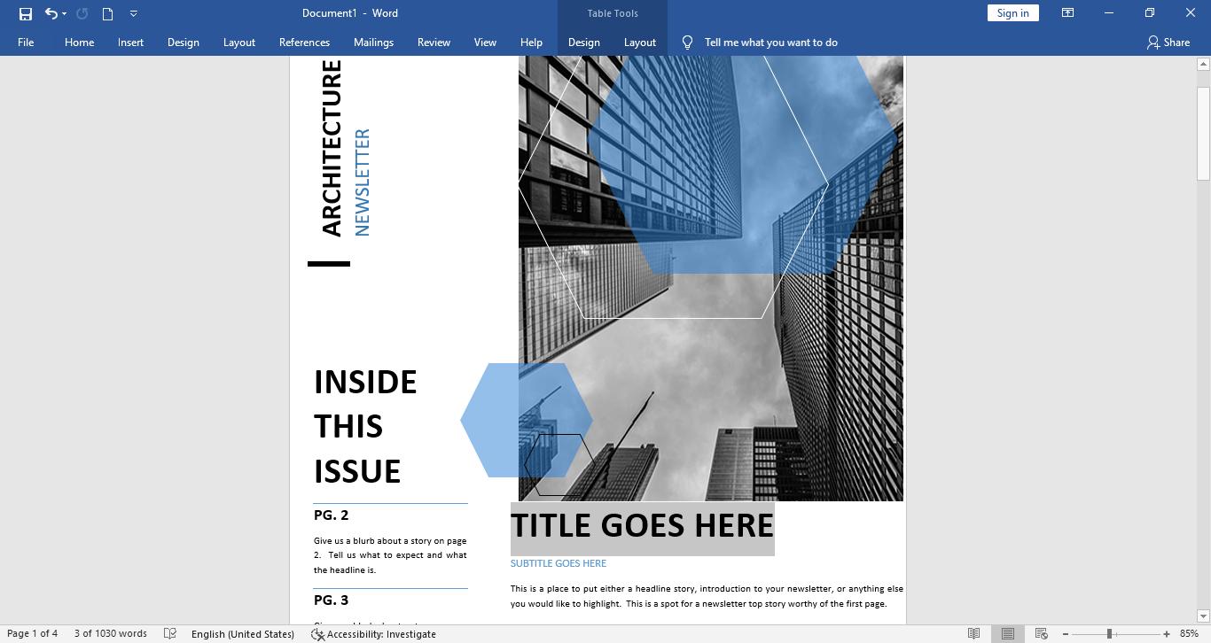 edit newsletter in word