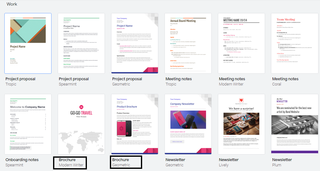 google docs brochure templates