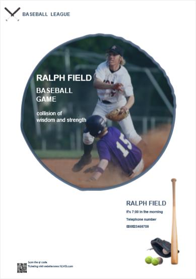 póster de negocio de béisbol