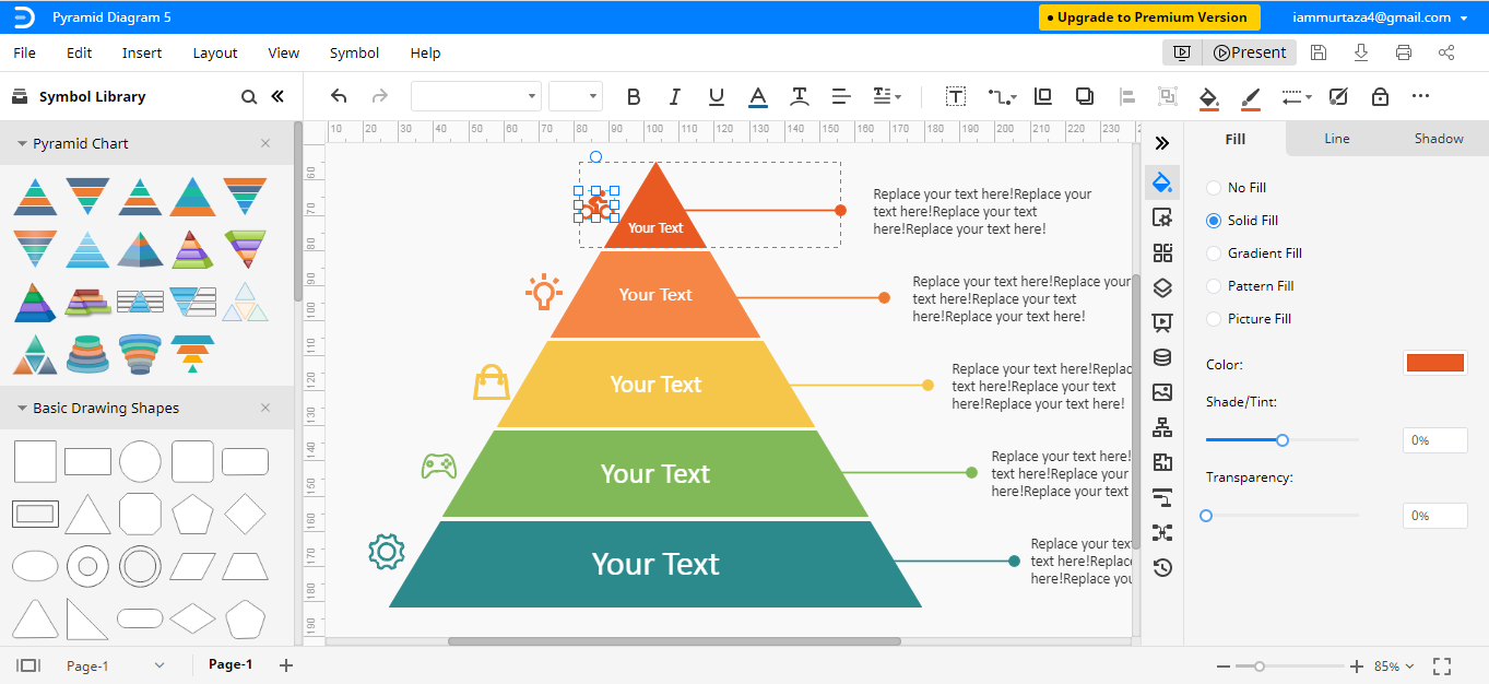 edit pyramid chart template