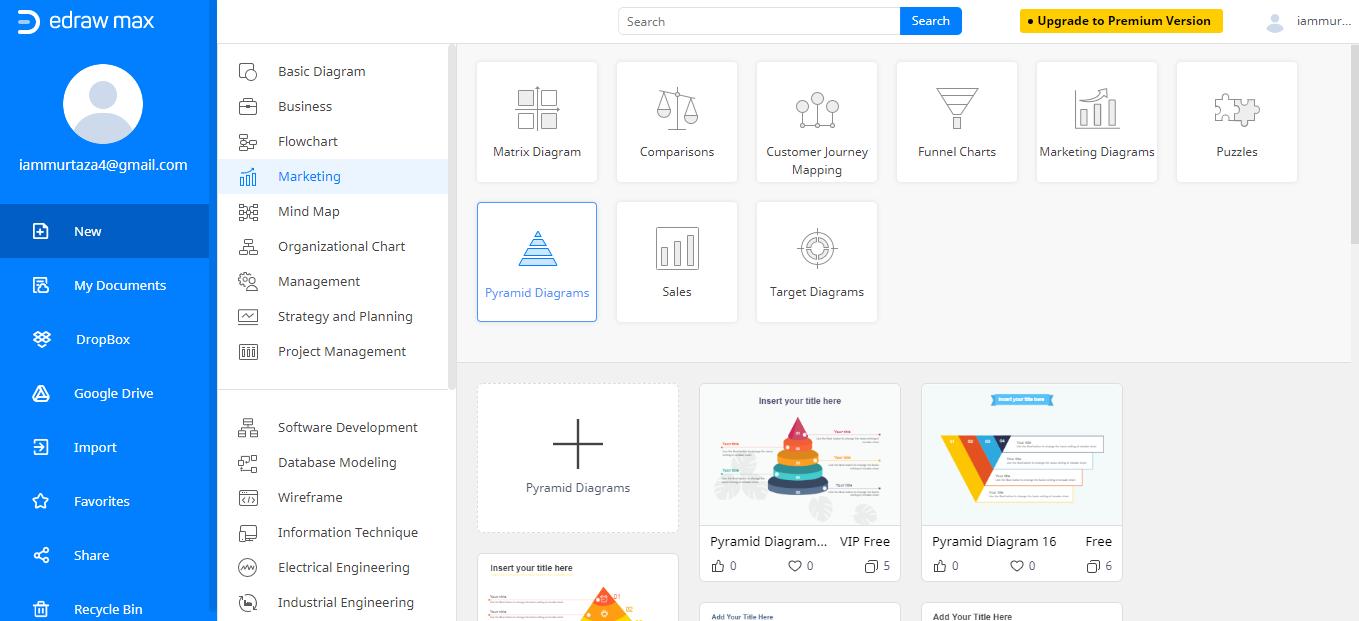 buscar plantilla de gráfico piramidal