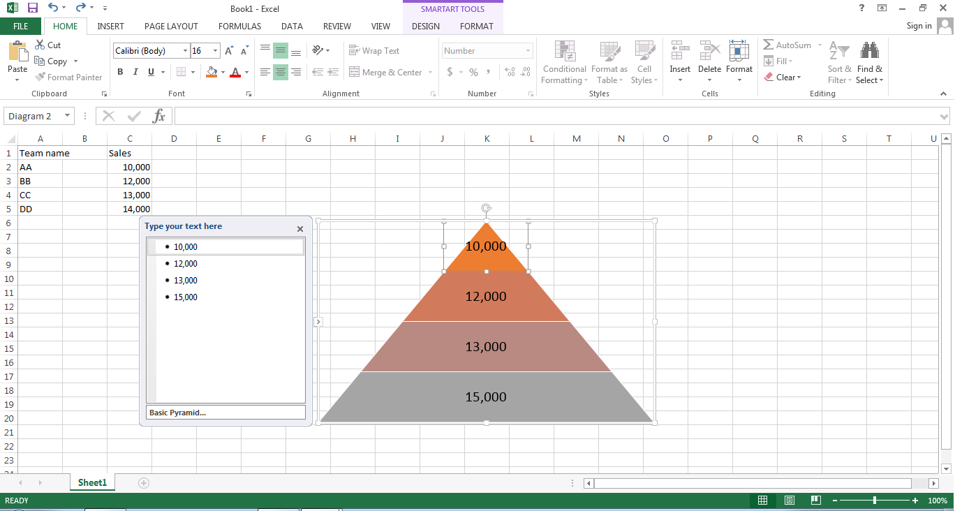 pyramid chart in excel