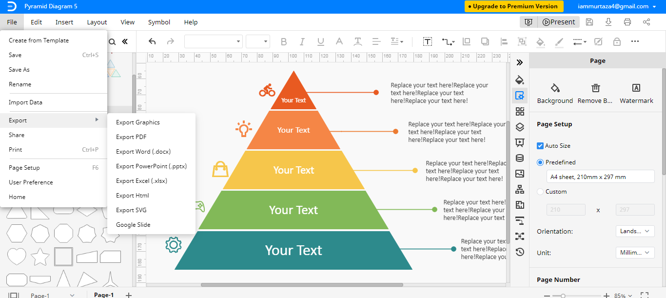 save export pyramid chart