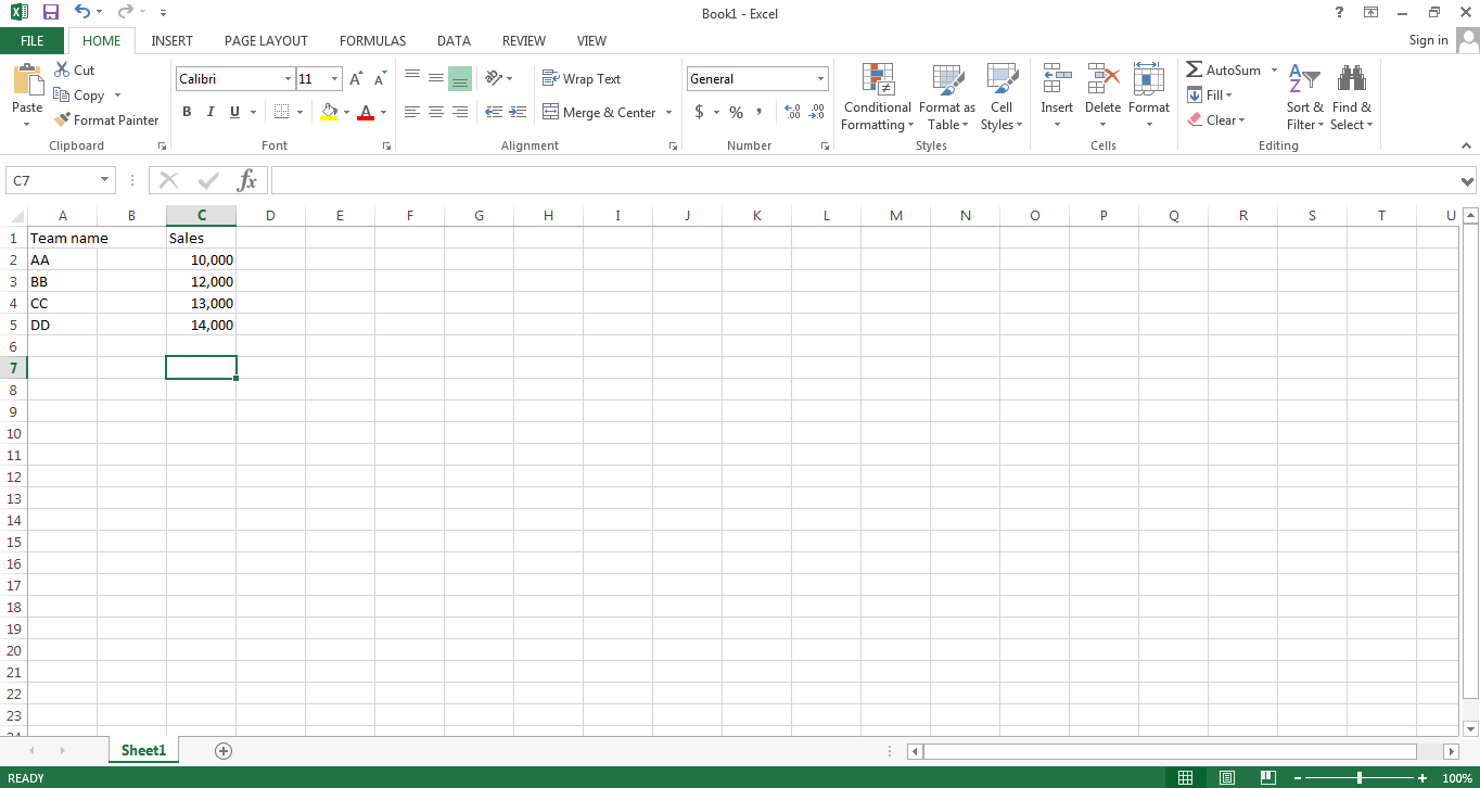 write values in excel