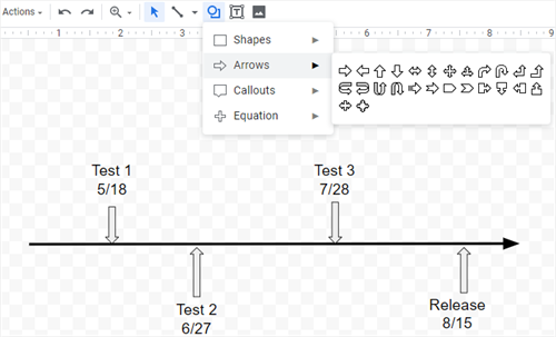 add arrows as the connectors in Google Docs
