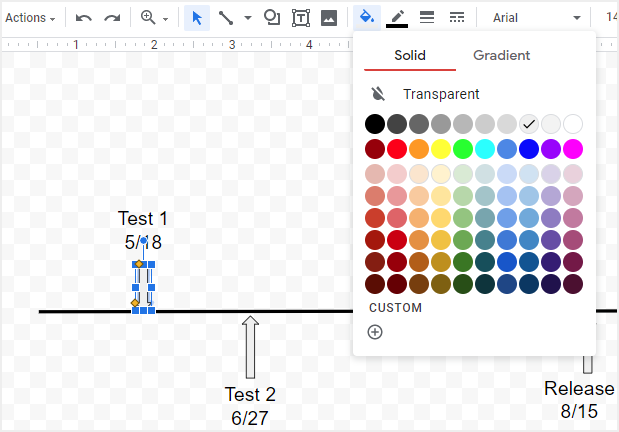 change the colors of arrows in Google Docs