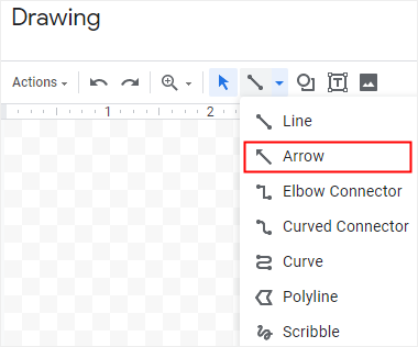 Select the arrow line in Google Docs