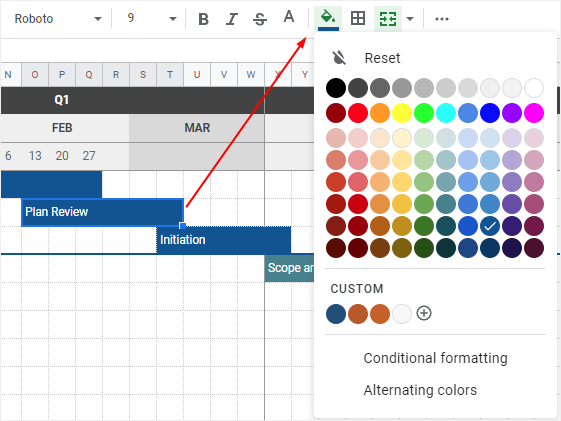 change the fill color in Google Sheets
