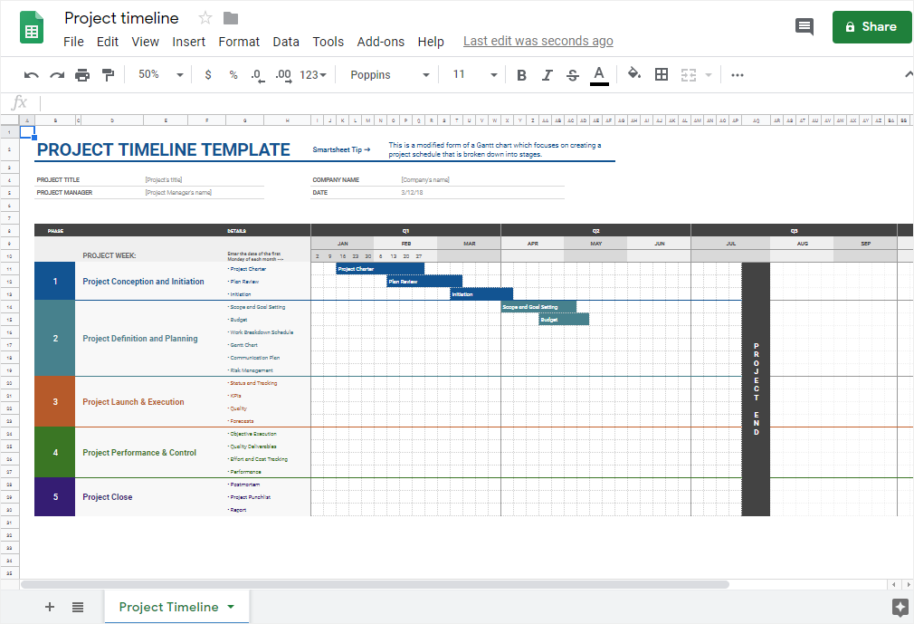 open the timeline template in Google Sheets