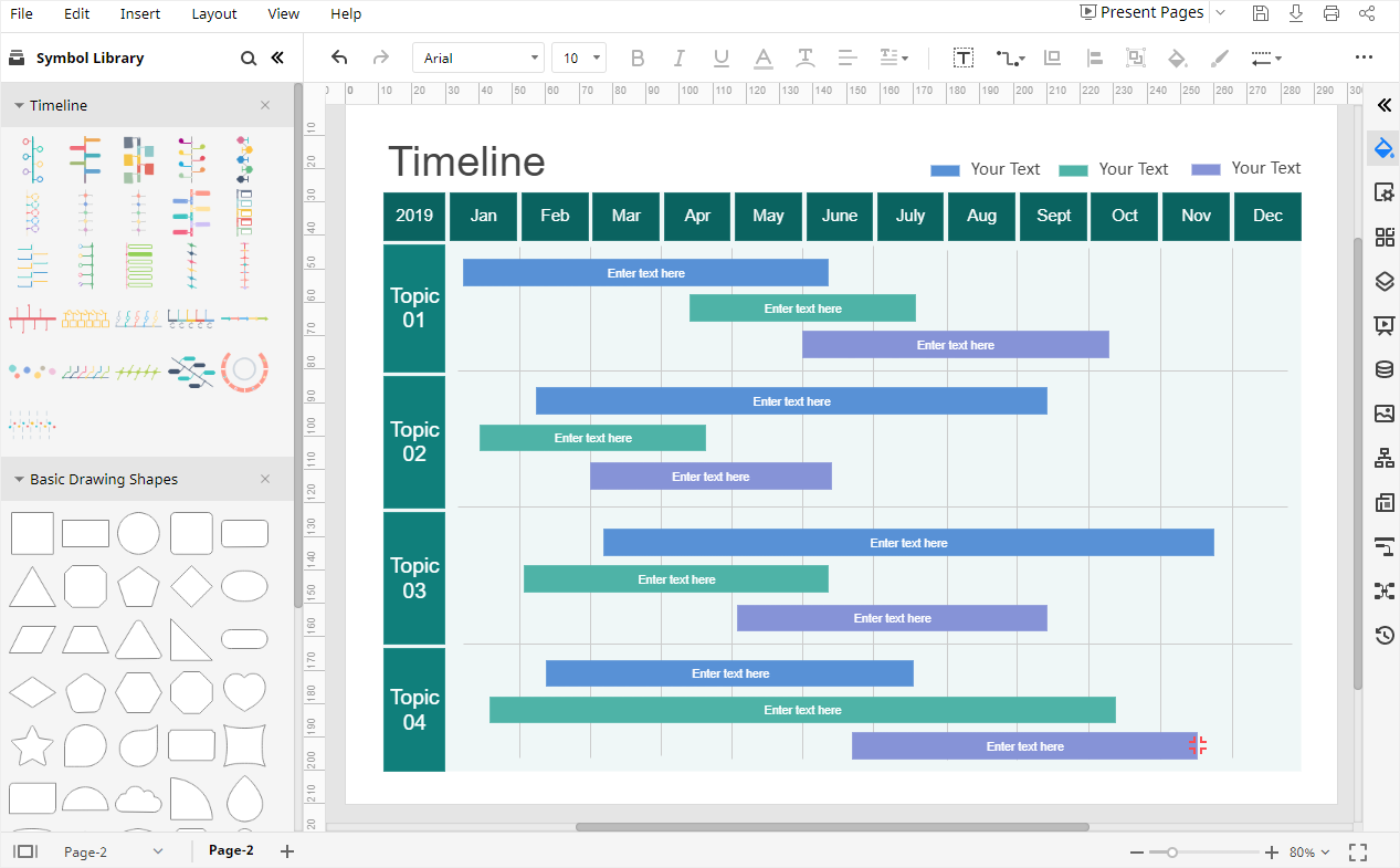 open the timeline template on Edraw Max
