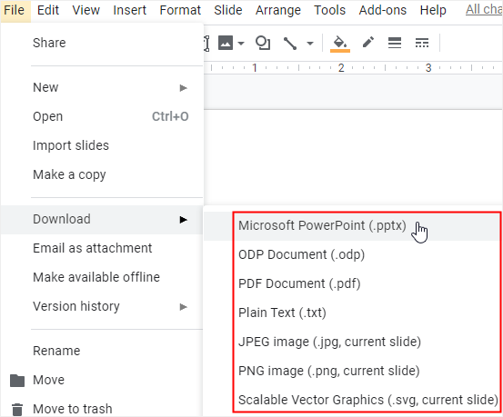 the download formats in Google Docs