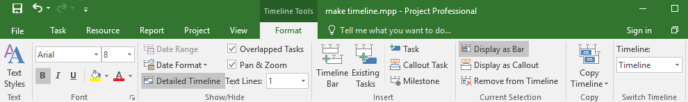 Format tab of the Timeline Tool