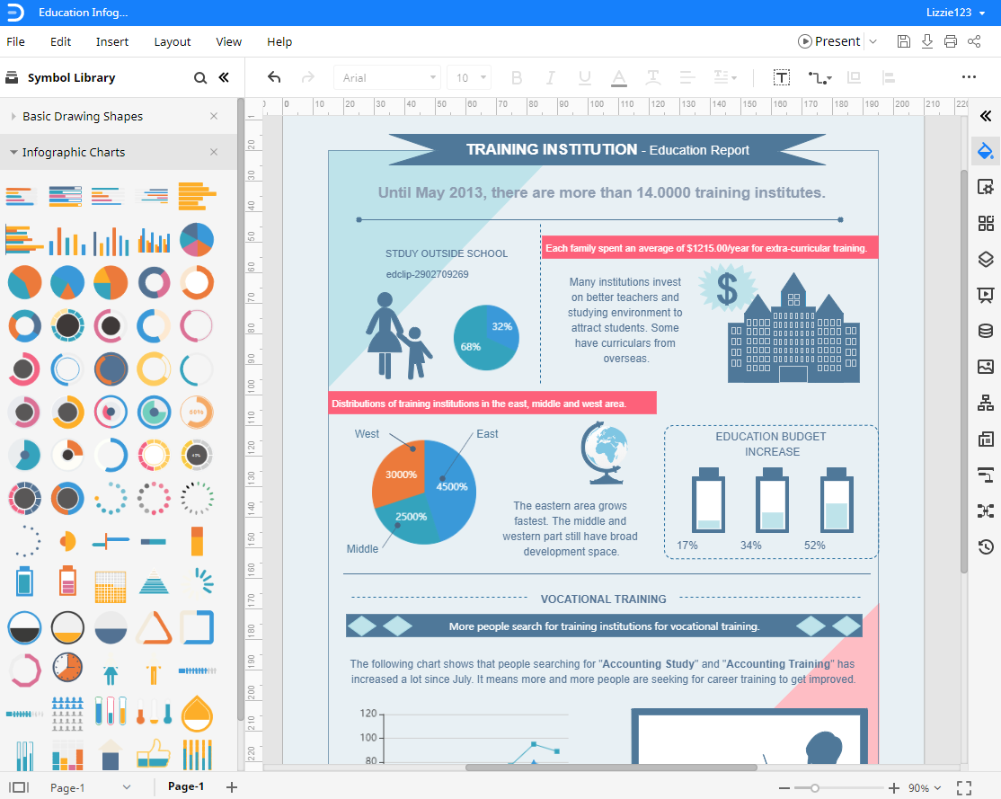 open the infographic template in Edraw Max