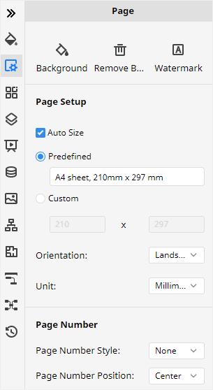 page setup pane