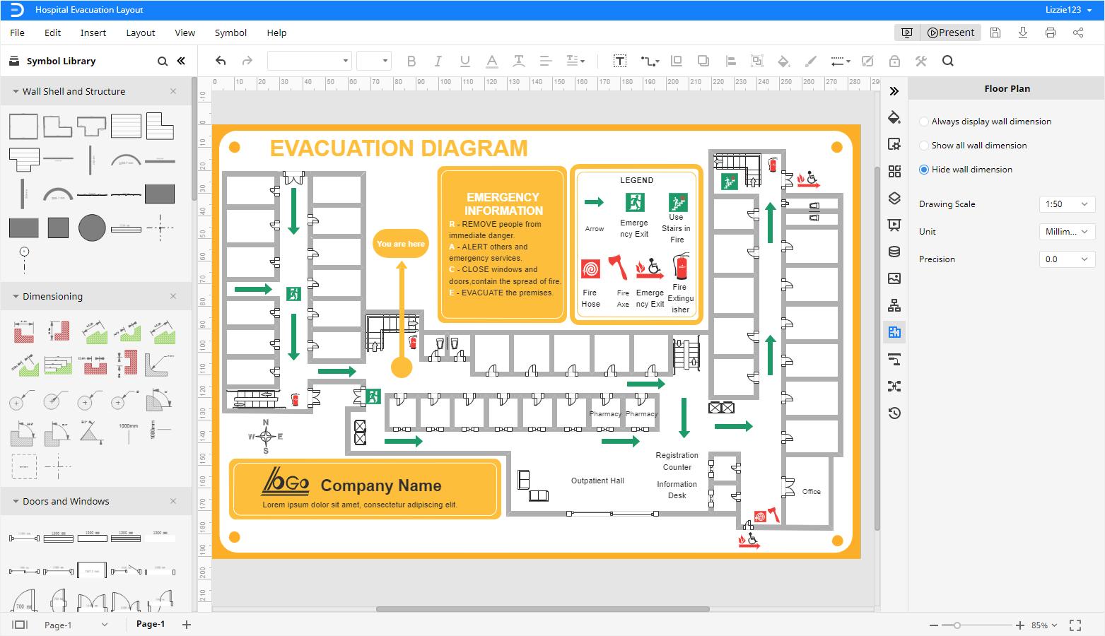 hospital evacuation layout