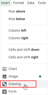 google sheets drawing option