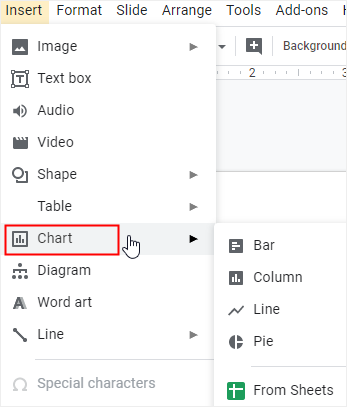 insert chart option
