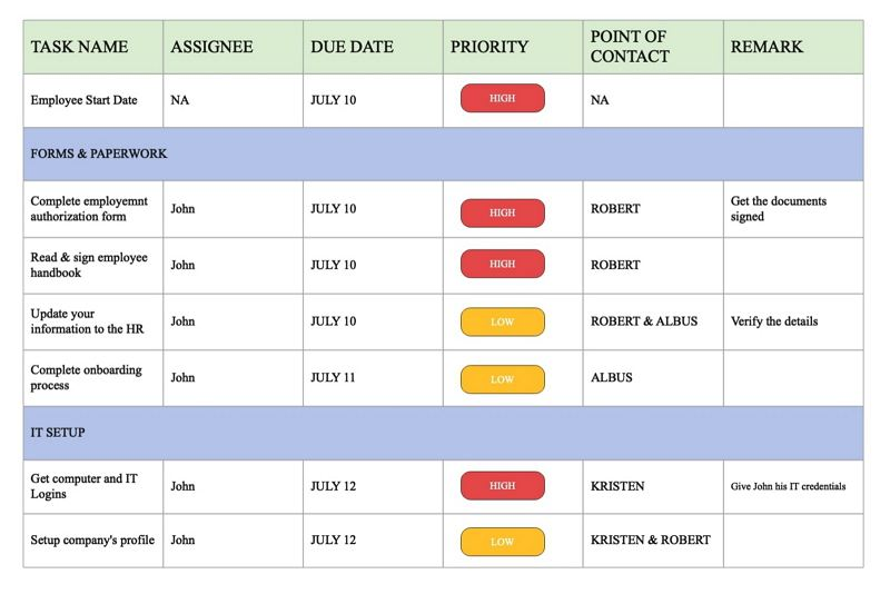 project calendar example