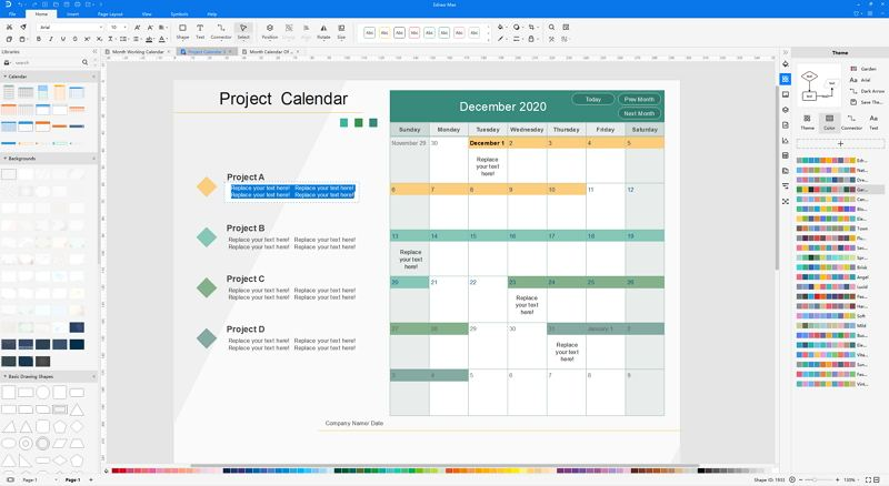 how to create project calendar
