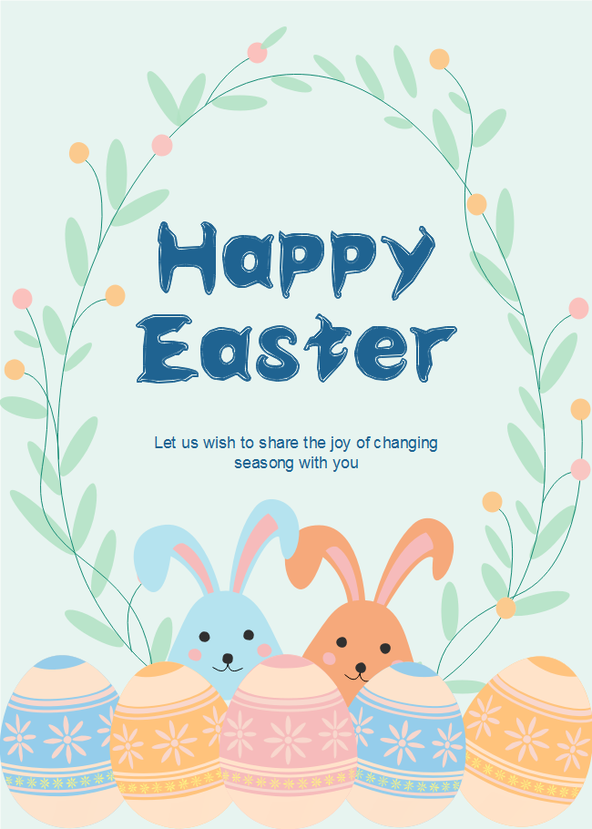 bunnies and eggs easter day card